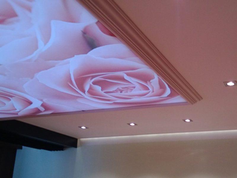 spanplafond met bedrukt doek